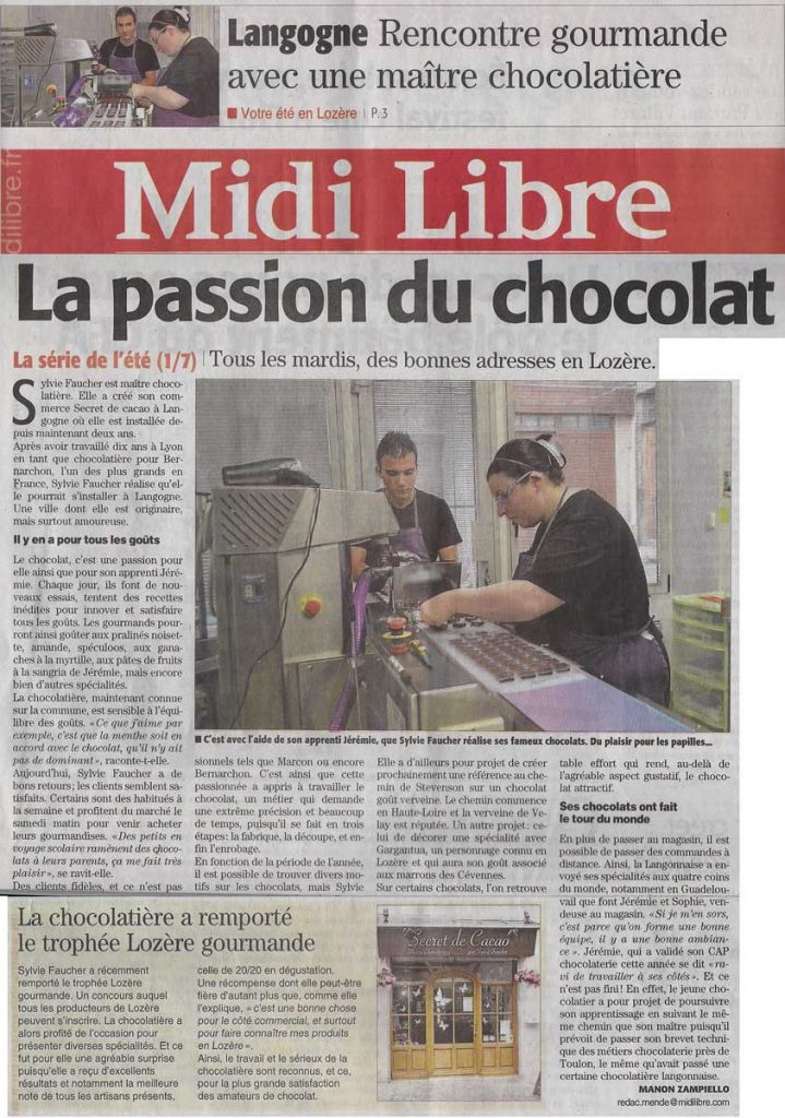 Passion chocolat Article Midi Libre
