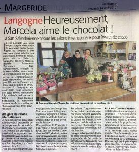 Article de presse sur Secret de Cacao