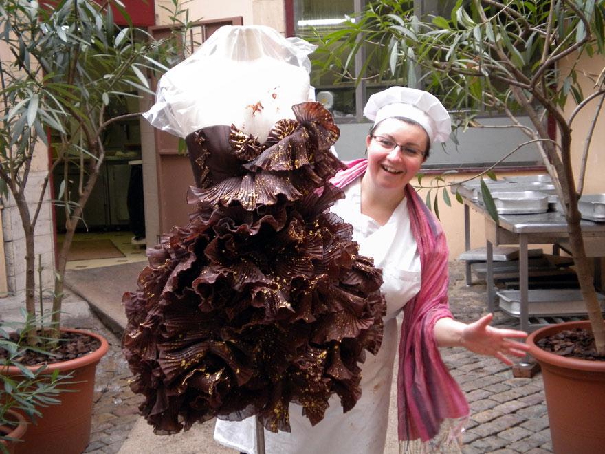 Robe en chocolat, souvenir de chez Bernachon